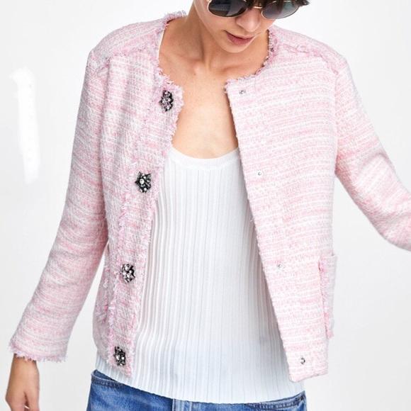 de654d6c Zara Jackets & Coats | Gem Embellished Tweed Blazer Sz M | Poshmark